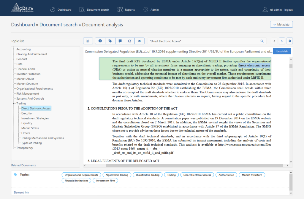 Document analysis - the relevant paragraph is displayed according to the automated classification
